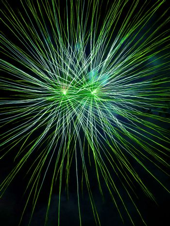 Long Exposure of Green Fireworks Against a Black Sky