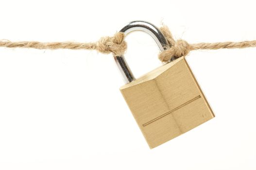 Poor Security Lock & String Isolated on a White Background.