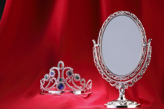 Tiara next to the mirror.