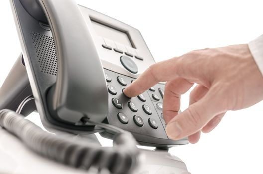 Operator dialing a phone number