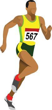 Long-distance runner. Short-distance runner. Vector illustration