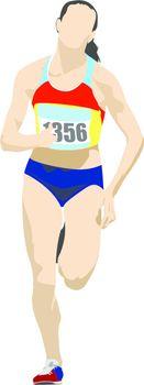 Woman Long-distance runner. Vector illustration