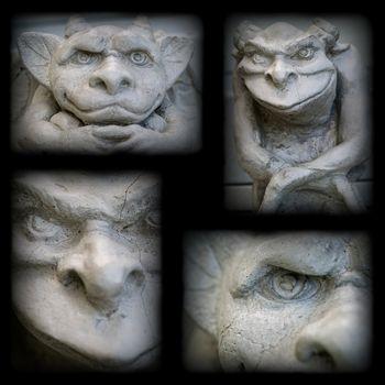 Gargoyle Statue Collage with a Dark Border