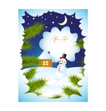 winter card with snowman vector EPS 8