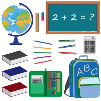 Set of objects for education in school on the white background.