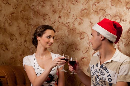 Young couple celebrates Christmas