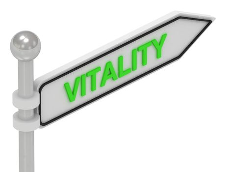 VITALITY arrow sign with letters