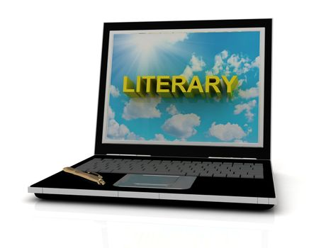 LITERARY sign on laptop screen