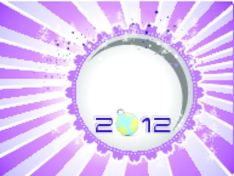 2012 Happy New Year greeting card with vector elements in purple background.
