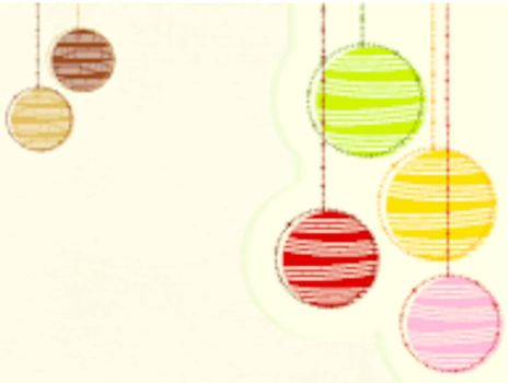 Christmas grungy background in colorful ball with decorations. vector.