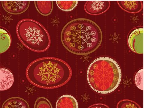 Seamless pattern with Christmas ornaments in red backgrounds.vector