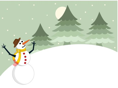 Christmas background with snowman and space for text.vector
