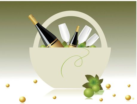 abstarct green background with grapesvine in Champagne basket
