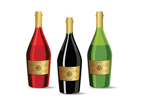 white background with set of three champagne bottles