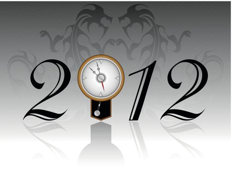 seamless dragon background with artistis design 2012 text with wall clock