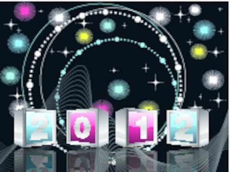 twinkle star, colorful dots & lights effect on  black background with  2012 text in cubes