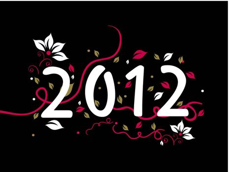 elegant floral design happy new year background with decorated 2012 text