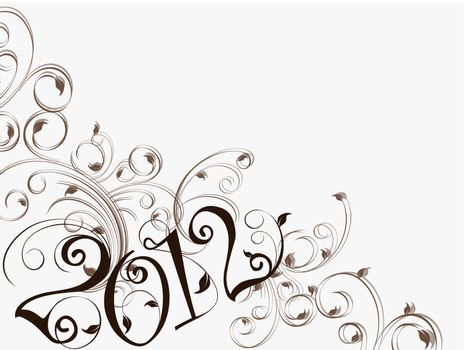 elegant brown floral art work on white background with coca brown  2012 text