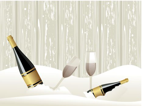 abstarct ice background with Champagne bottle, glasses concept vector for events
