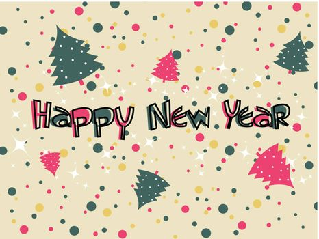 twinkle stars, cristmas tree on colorful dots theme background with happy new year