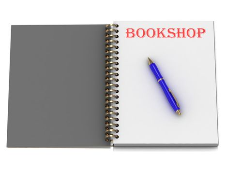 BOOKSHOP word on notebook page