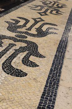 Portugal. Lisbon. Typical portuguese cobblestone pavement