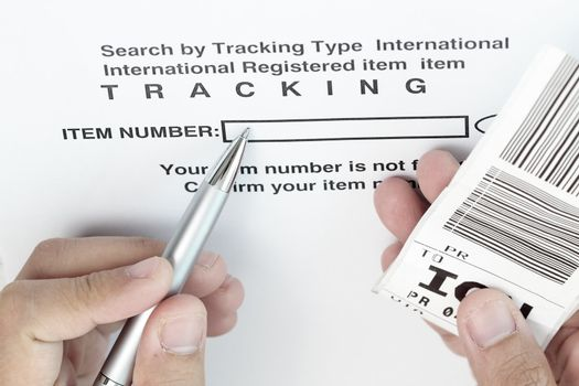 Tracking the item with barcode and pen.