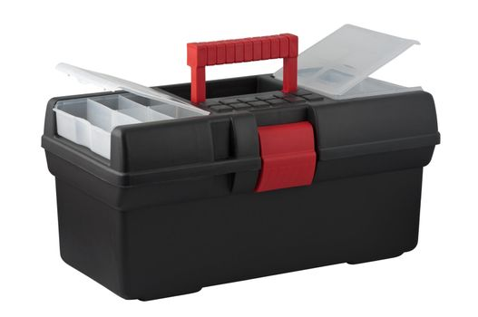 Tool box with compartments for small items in a cover.