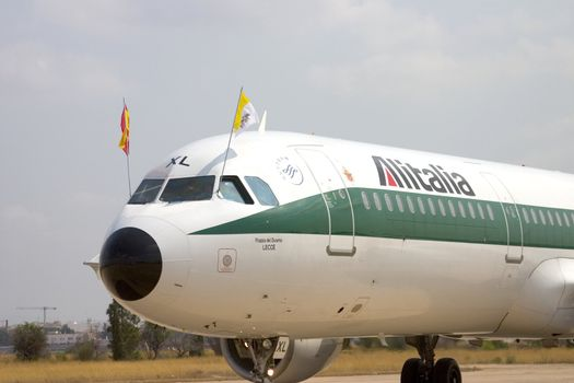 The plane that the Pope arrived in when he made his visit to Valencia, Spain in July 2006.