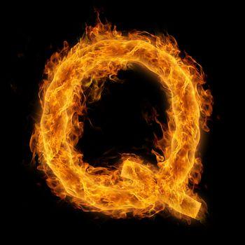 Flaming Letter Q