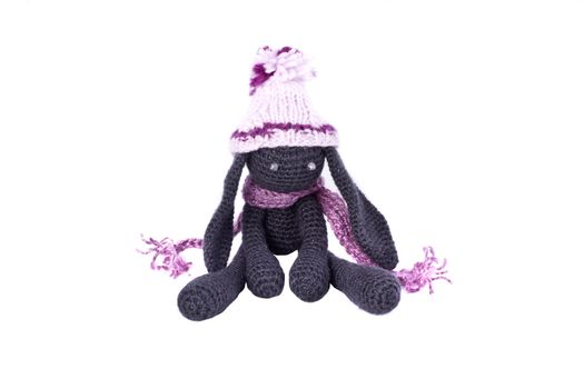 Beautiful knitted toy rabbit. hand-made souvenirs