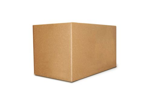 Cardboard box on a white background close up