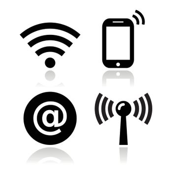 Black modern icons with reflection - wireless internet, internet cafe