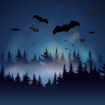 Background with bats and forest, vector Eps10 illustration.