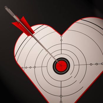 Heart Target Showing Successful Romance Between Boyfriend And Girlfriend