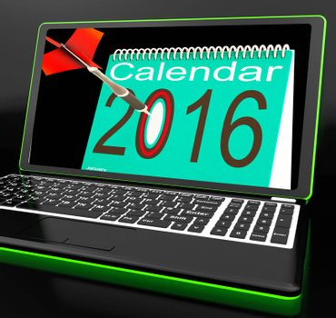 Calendar 2016 On Laptop Showing Future Websites And Online Calendars