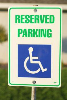 Handicap reserved parking sign