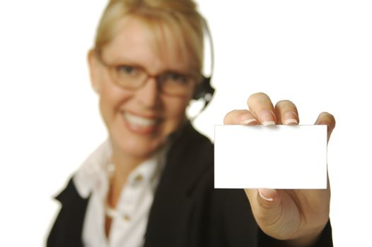A beautiful friendly secretary/telephone operator holding a blank card ready for your message