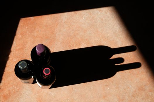 Wine Bottles with Dramatic Shadow
