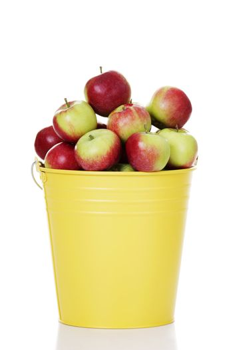 Fresh red apples in yellow bin