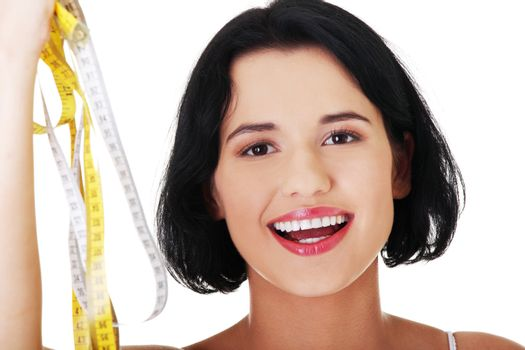Woman holding measurement types -