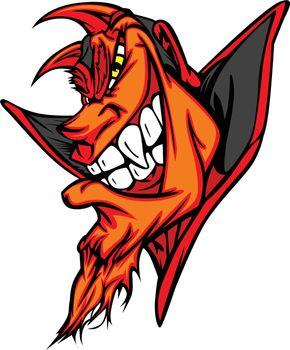 Demon Mascot Head Vector Cartoon