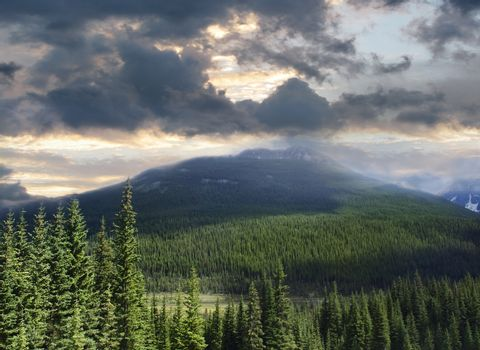 Beautiful view of the Rocky Mountains in Alberta