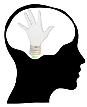 bulb with ecology symbol in human head,