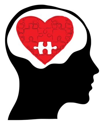 Love concept with human head