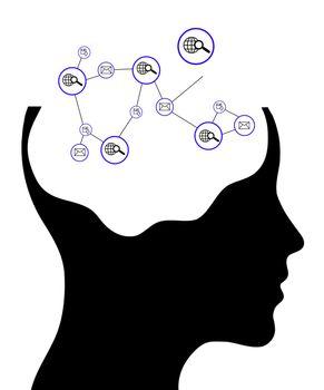 Thinking man representing a social network. Conceptual image