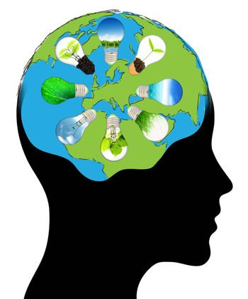 world of the human mind Isolated over background