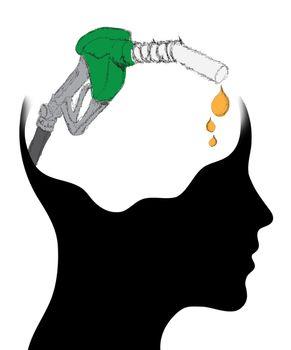 Thinking Head - A depiction of Idea, fuel pump