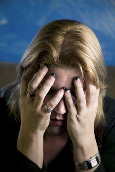 Blonde Woman in Despair