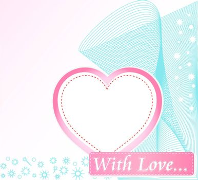 Cute cover design with grunge decoration and love heart. vector
